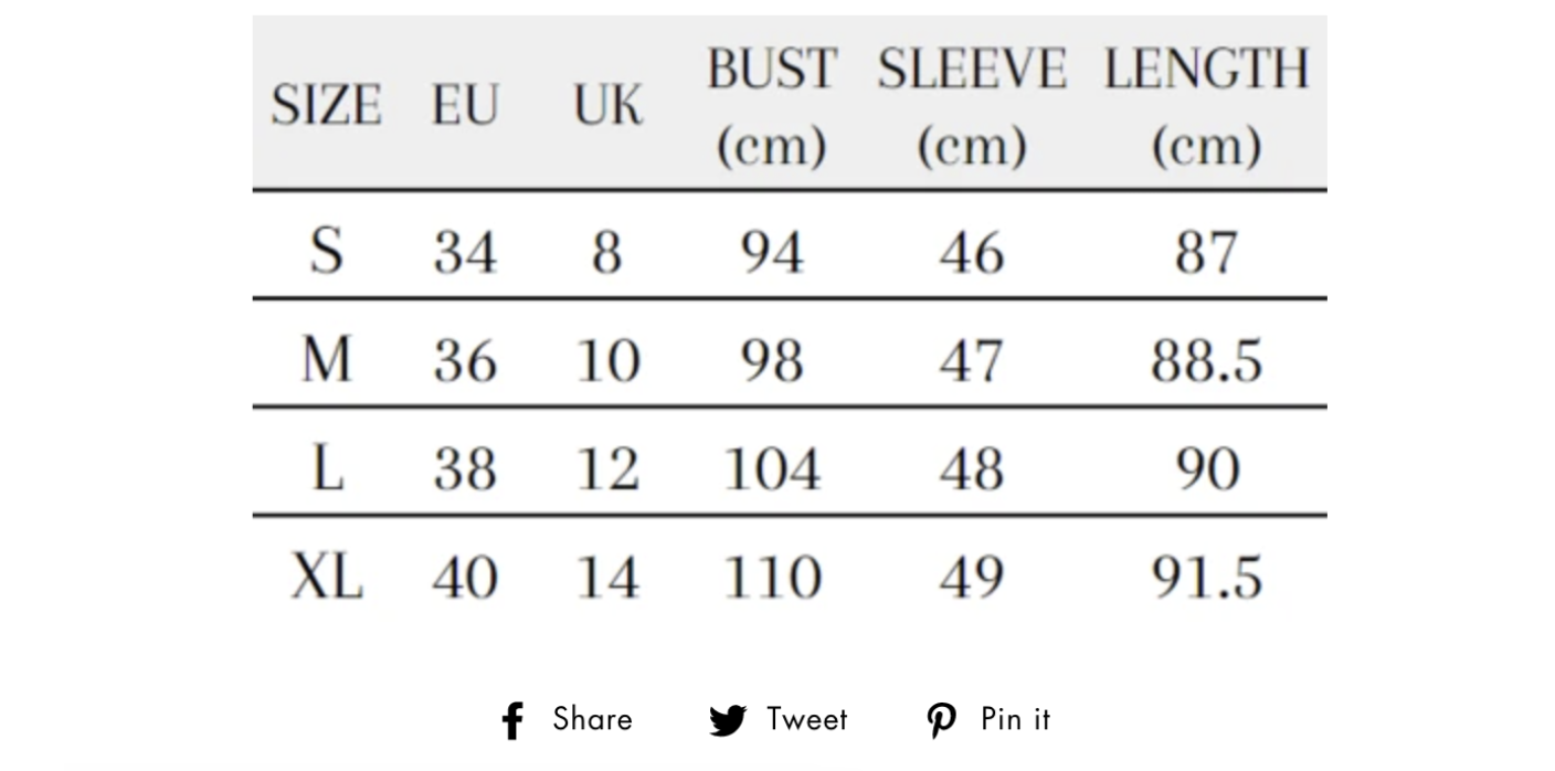 Chart that shows the sizing dimensions and buttons that link to social media.