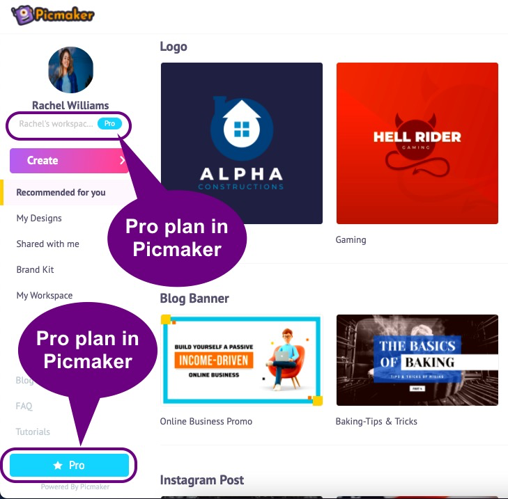 The awesome features in Picmaker's pro plan