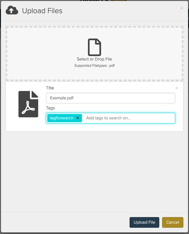 Upload Files Modal Showing Custom Title input and Tag input