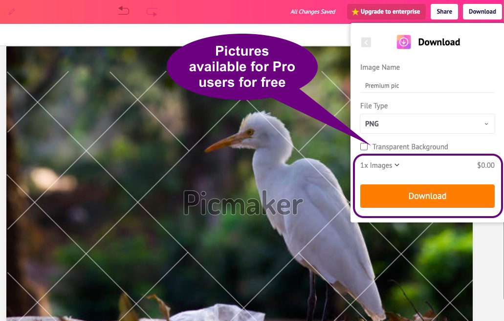 Free images available as part of Picmaker's Pro plan