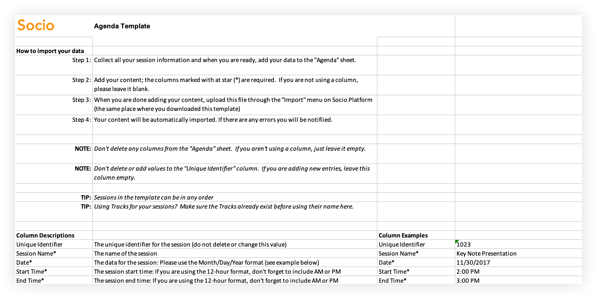 Screenshot of the Instructions page in a feature template.