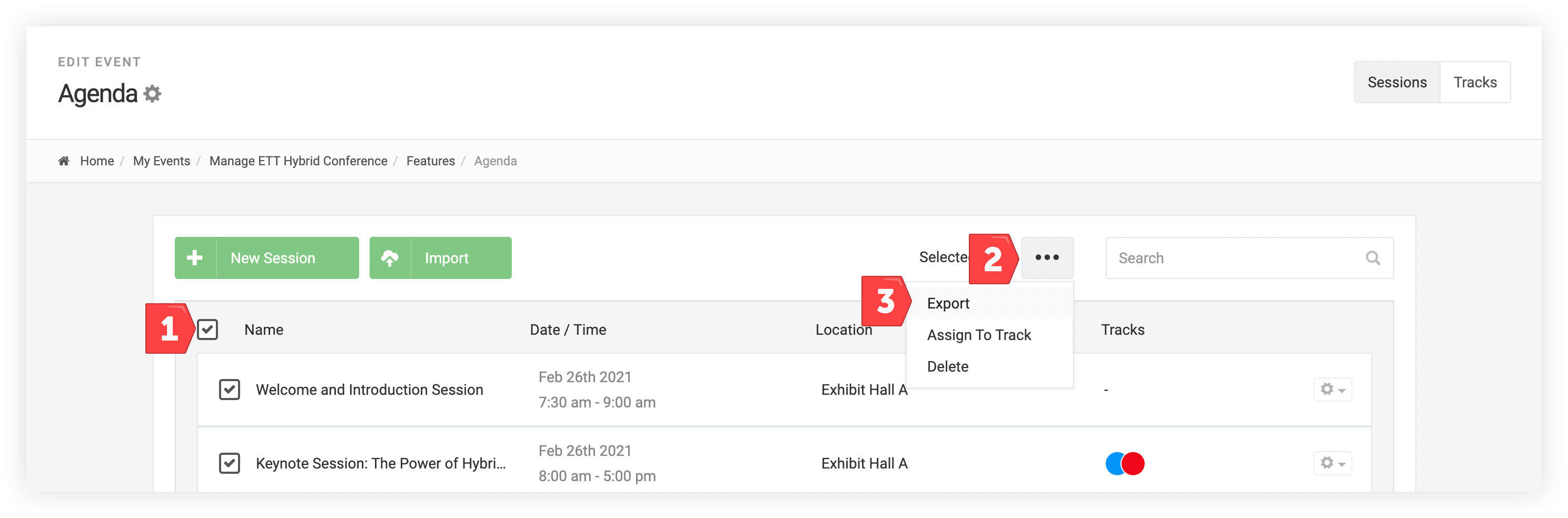 Screenshot of the process just described using the Agenda feature.