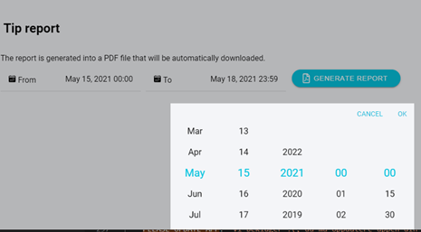 Selecting date and time.