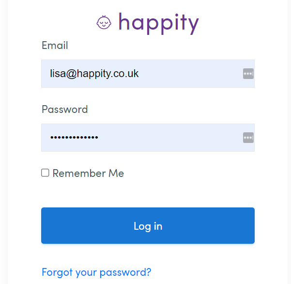 How to login to Happity