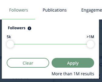 A screenshot of Heepsy's Instagram Followers filter, which gives you a slider to set the range of followers for the influencers you want to find.