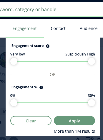 A screenshot of Heepsy's Instagram Engagement filter, which gives you two sliders to set engagement score or engagement percentage.