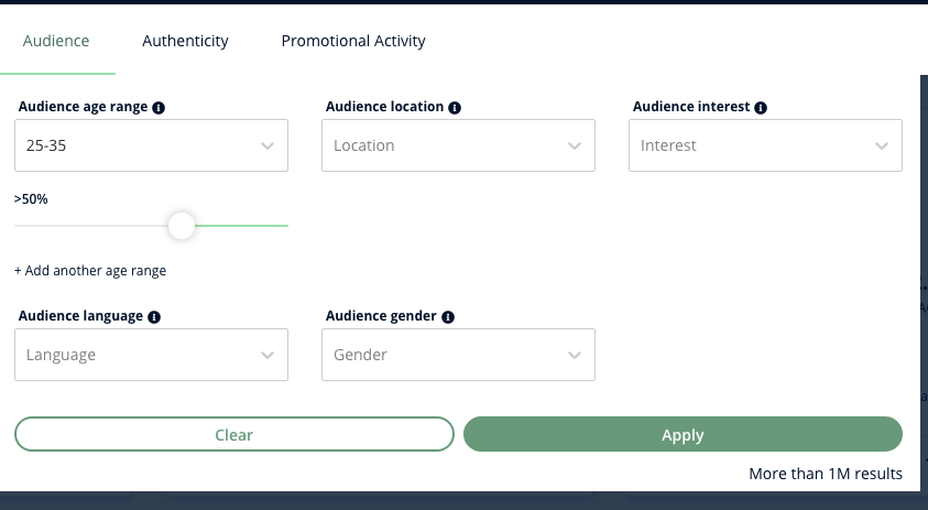 A screenshot of Heepsy's Audience filter, which lets you choose demoraphics from dropdowns and set the percentage with sliders.