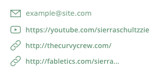 An example of how an influencer's contact info looks on Heepsy: a list with public email and links to other networks.