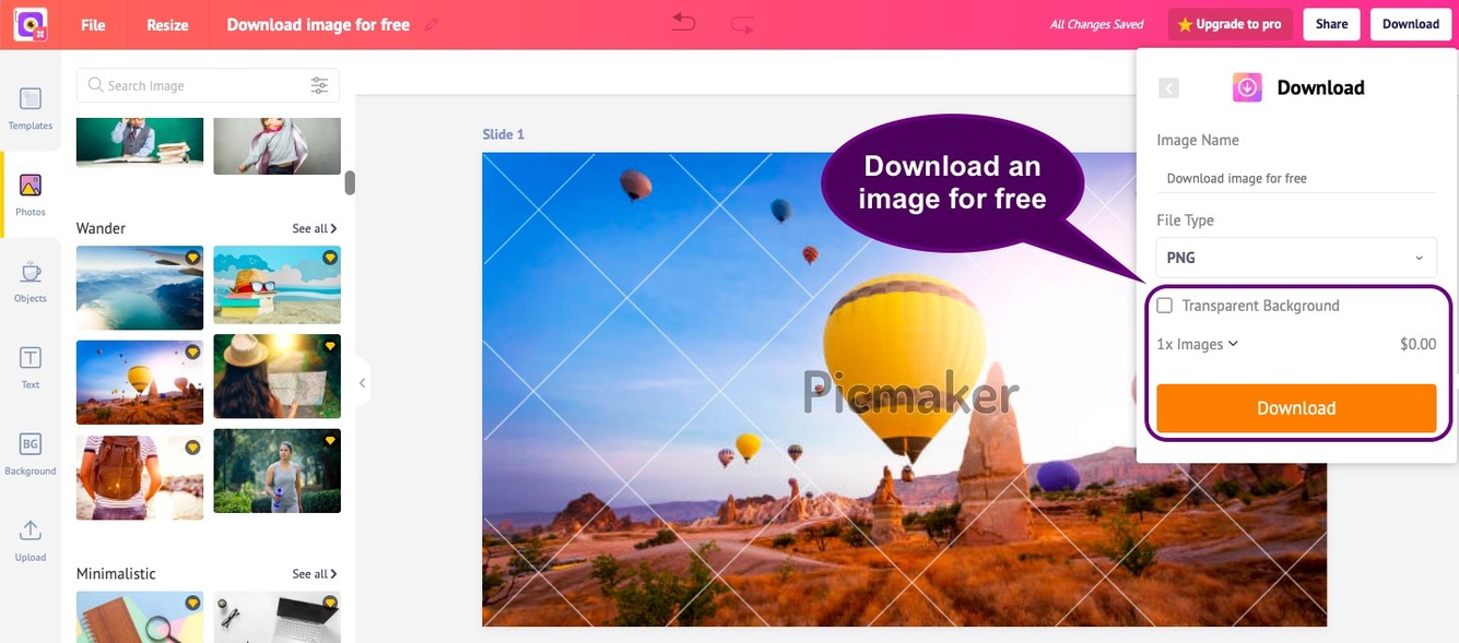 Download an image for free in our Starter plan