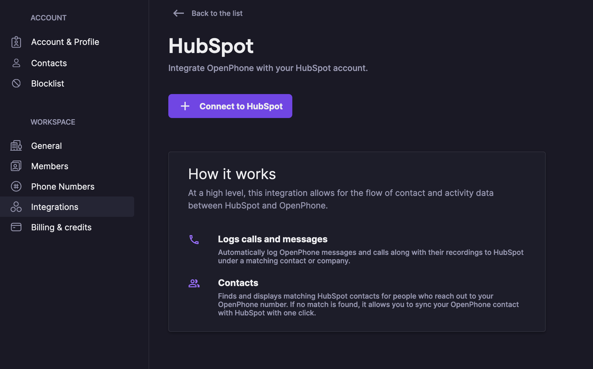 connect HubSpot in OpenPhone