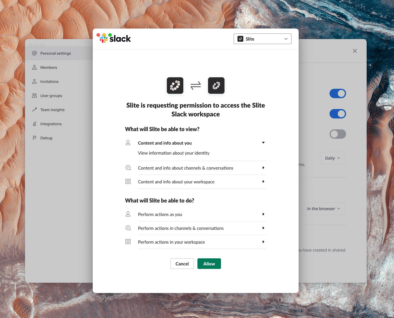 Allow permissions between you Slack and Slite teams.