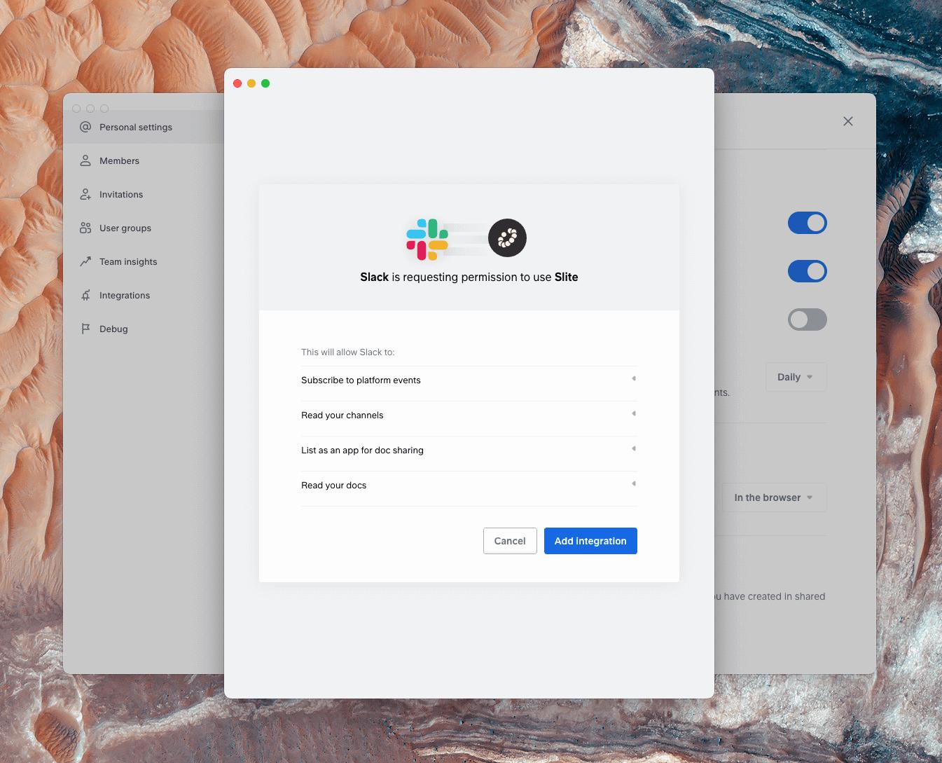 Add integration between Slack and Slite.