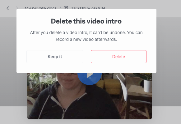 Delete your intro video from the doc.