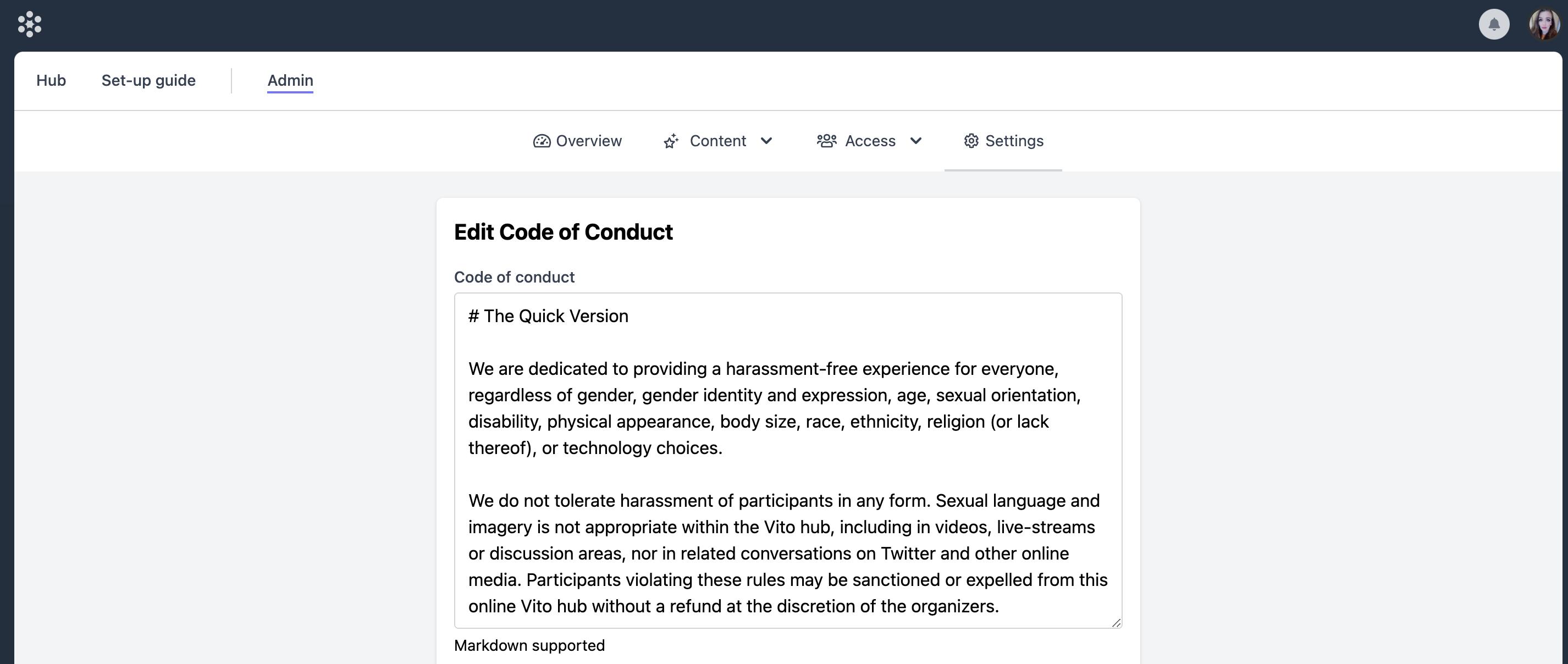 The Code of Conduct editor in Vito.