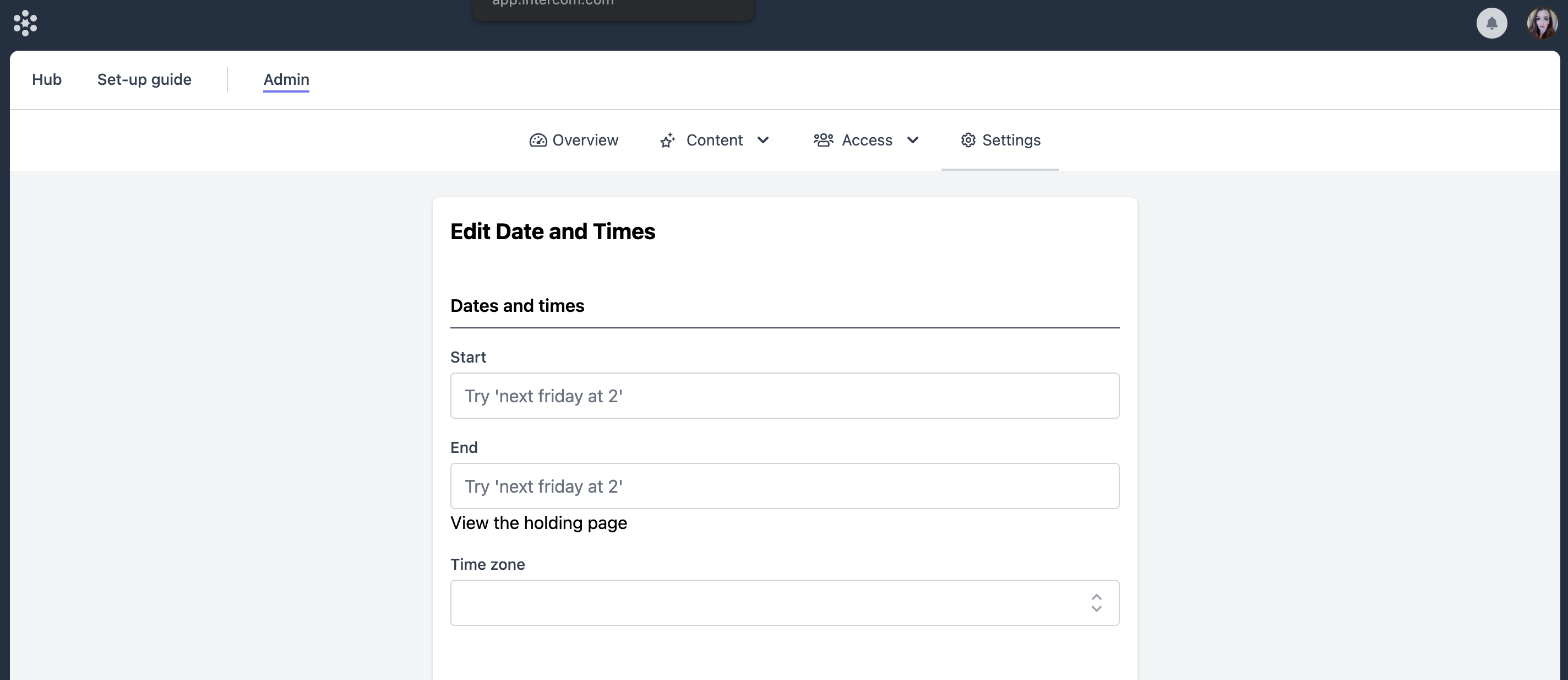 The Date and Time editor in Vito with Start, End and Timezone fields.