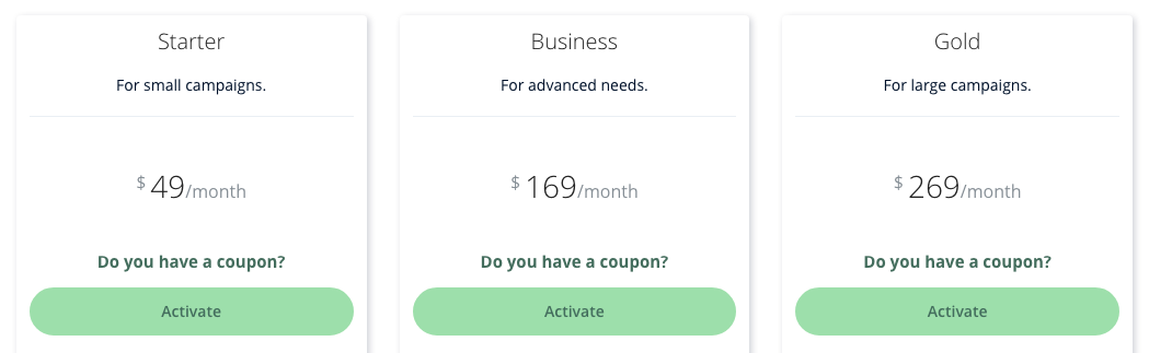 A screenshot comparing Heepsy's three subscription plans you can use to find influencers.