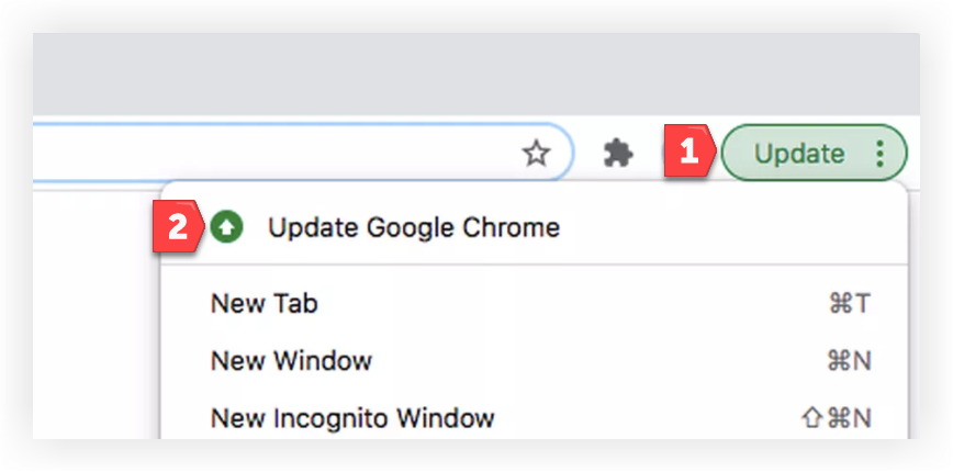 Screenshot of the Update Google Chrome item in the Update panel as just described.