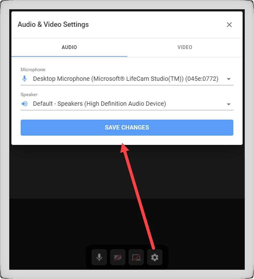 Screenshot of the video room Settings modal.