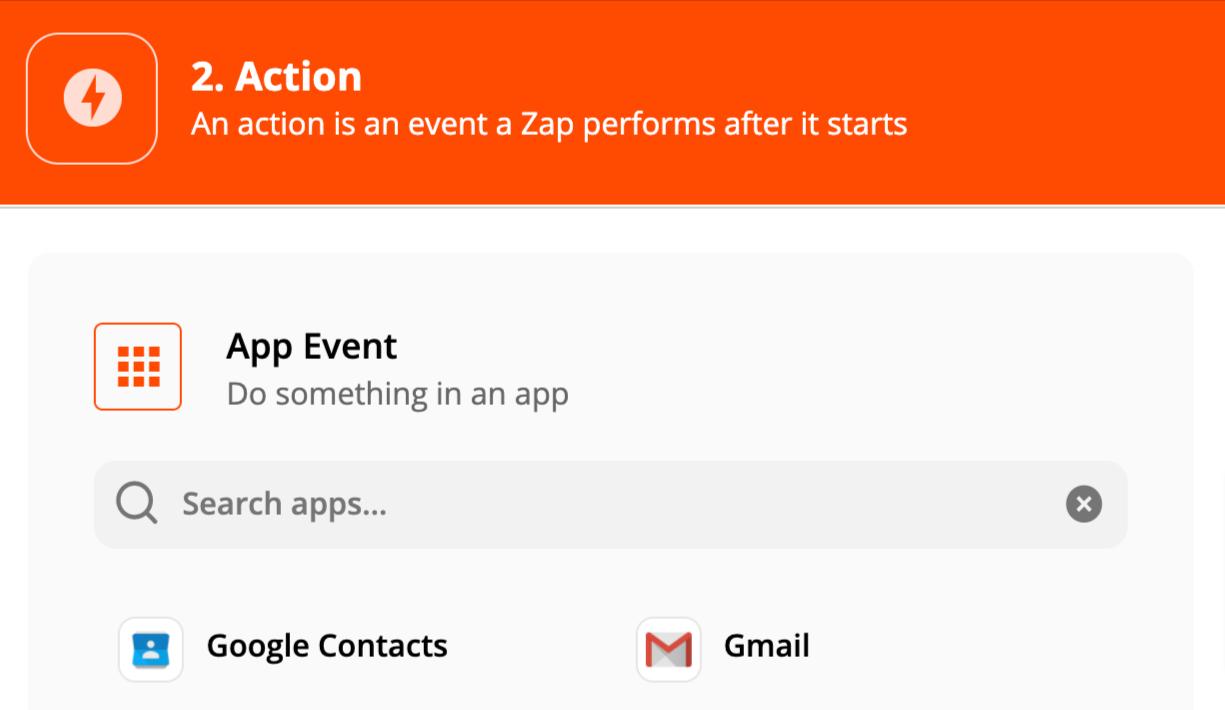 Zapier app action selection