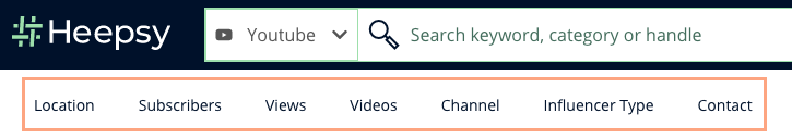 An orange box surrounds the Heepsy Youtube search filters that come in the Business Plan: Location, Subscribers, Views, Videos, Channel, Influencer Type, and Contact..