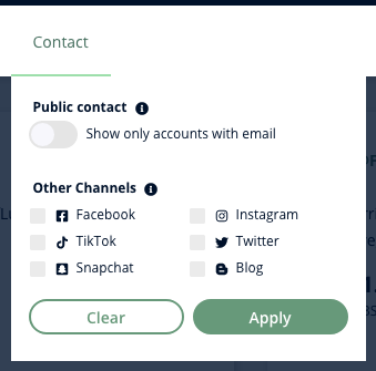 A screenshot of Heepsy's Youtube Contact filter, which lets you find influencers with public emails or with an accounts on other social networks.