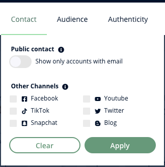A screenshot of Heepsy's Instagram Contact filter, which uses checkboxes to let you find influencers with pubic email or a presence on another social network.