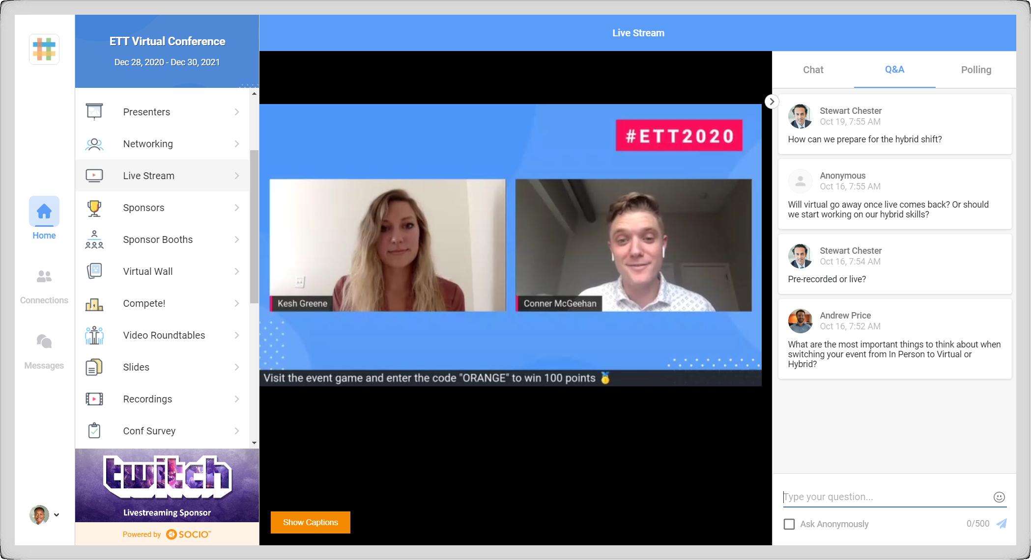 Screenshot of a live stream in a Socio event.