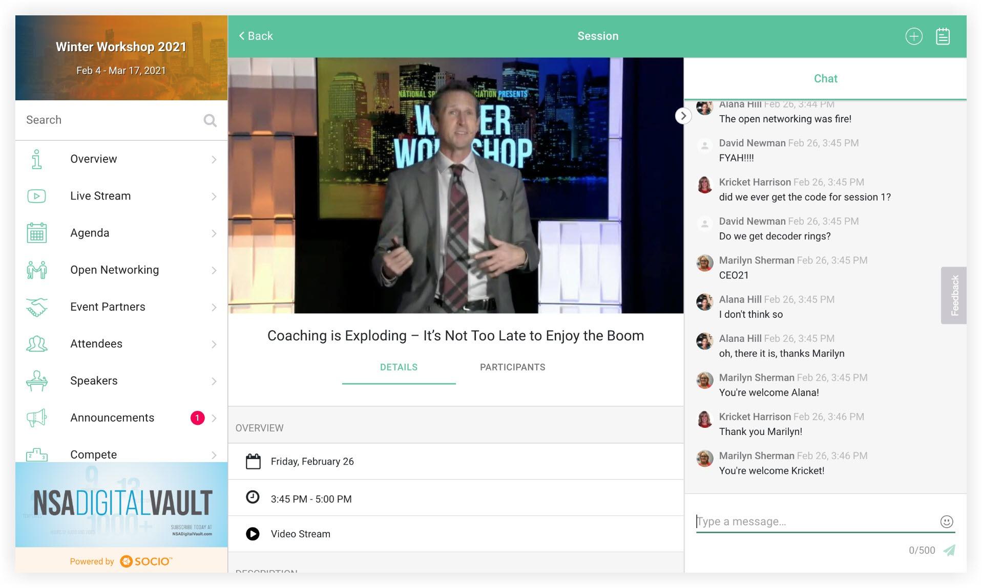 Screenshot of a live stream in an Agenda session.