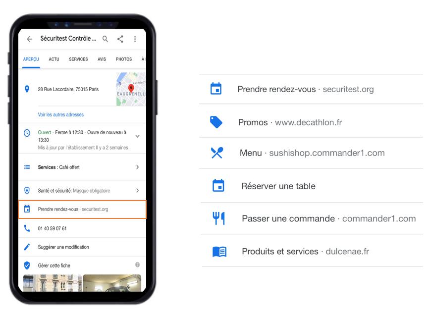 Google My Business permet d'insérer différents liens pour inciter vos clients à faire une action