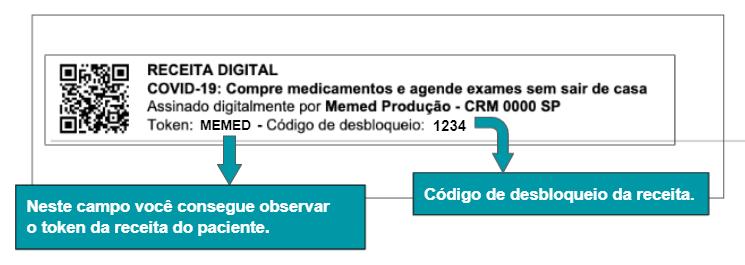 No rodapé da página do PDF consta o token e o código de desbloqueio.