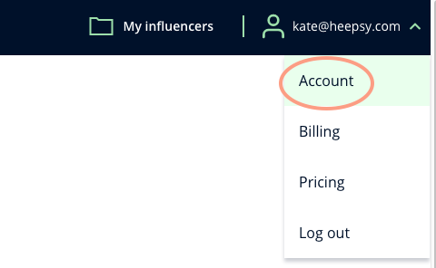 A screenshot of Heepsy showing where to access the Account page from the list that drops down when you click your email.