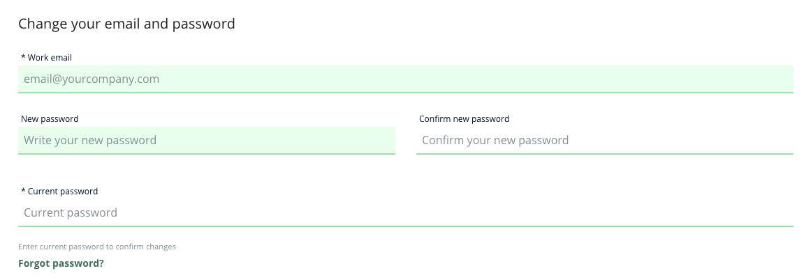 A screenshot of the Heepsy Account page, and the fields you need to fill in to change your email: work email, new password, confirm new password, and current password.