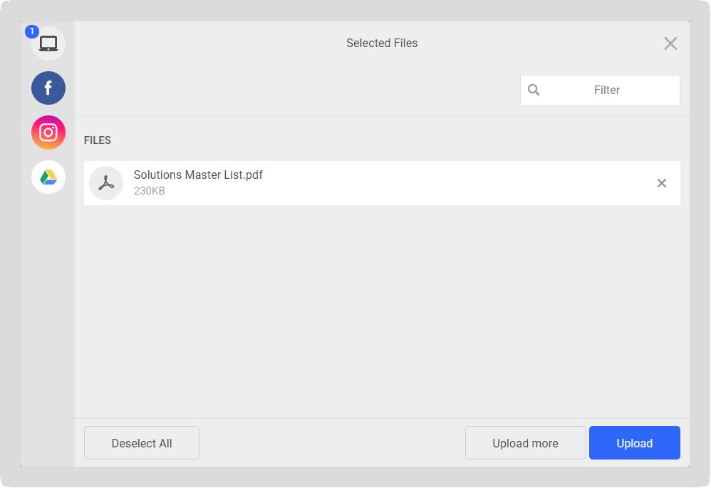 Screenshot of the file upload modal.
