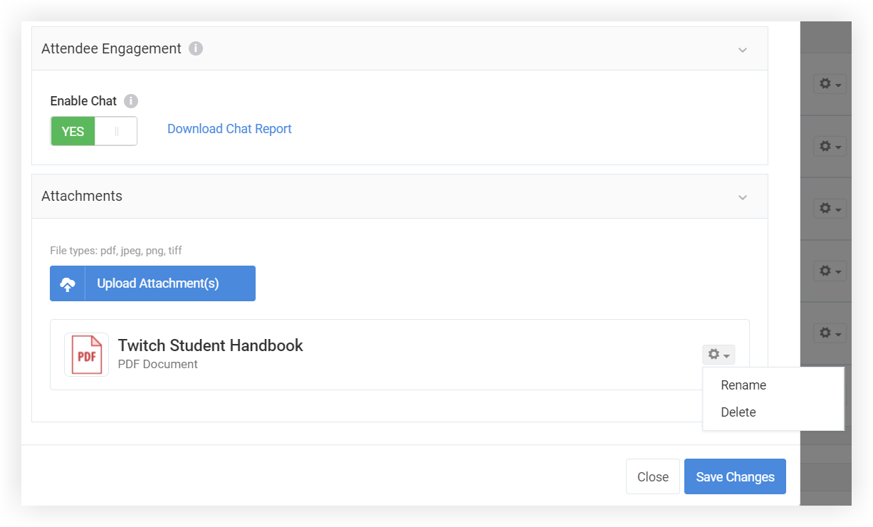 Screenshot of the Attendee Engagement and Attachments sections of the modal.