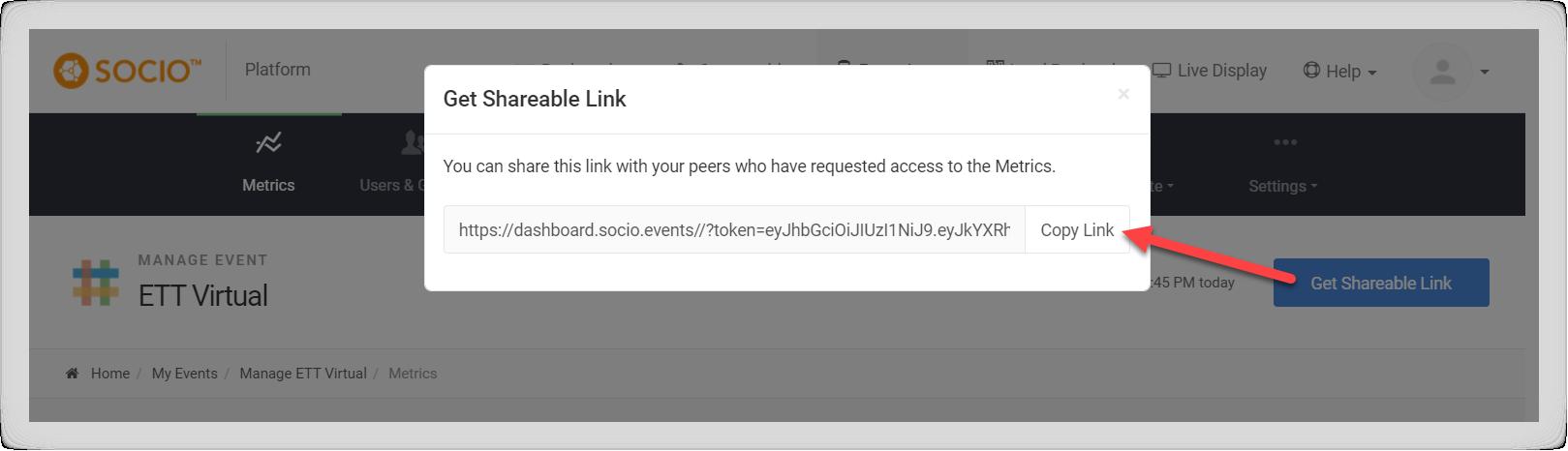 Screenshot of the Get Shareable Link modal.