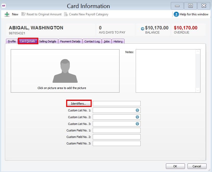 Assign Identifier to a Customer Card