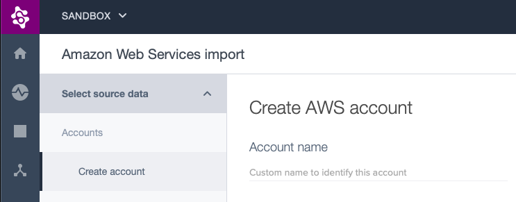Part of the AWS Integration page showing the empty account name text field