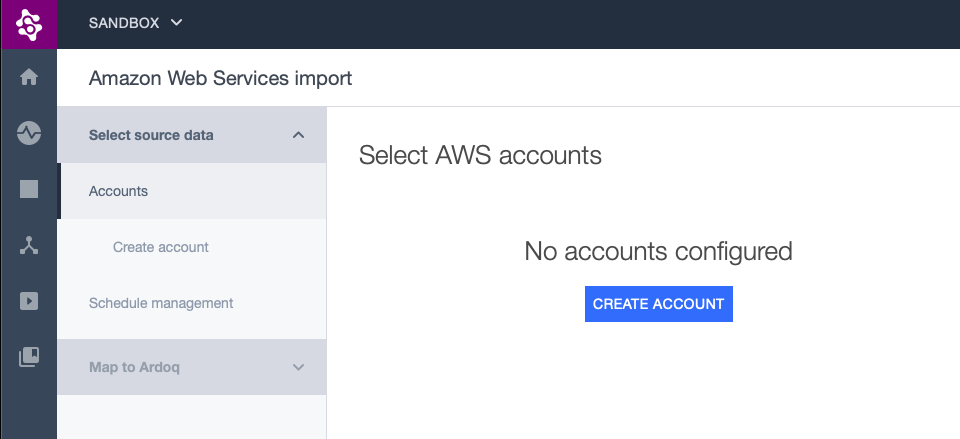 Part of the AWS Integration page showing the Create account button