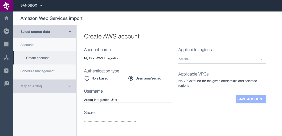 Part of the AWS integration page showing AWS username and secret form filled in.