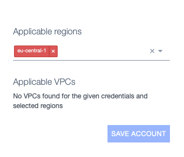 Part of the AWS Integration page showing the applicable regions select box with one choice selected and highlighted as invalid