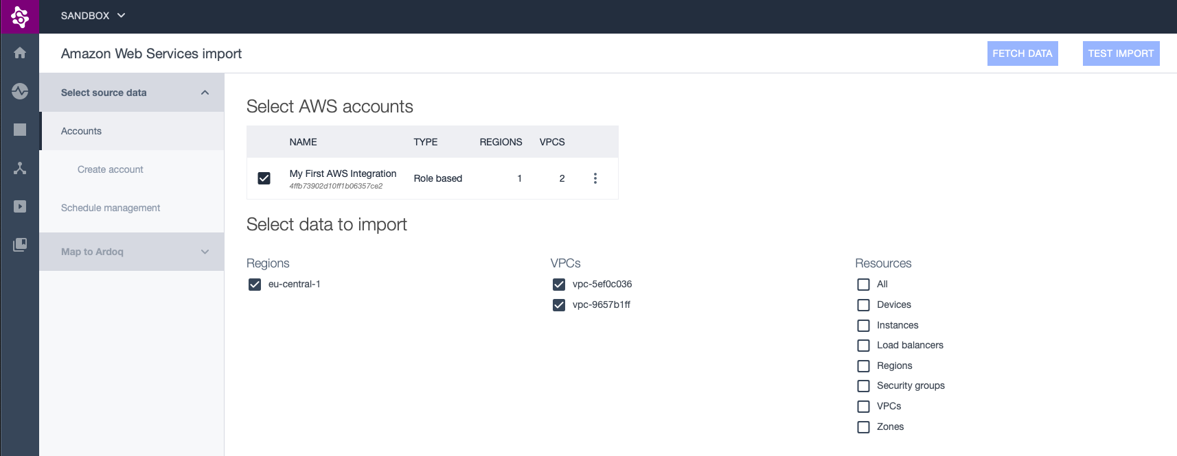 AWS source selection page showing one AWS account and available choices for regions, VPCs and resources