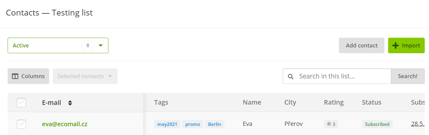 tags in overview