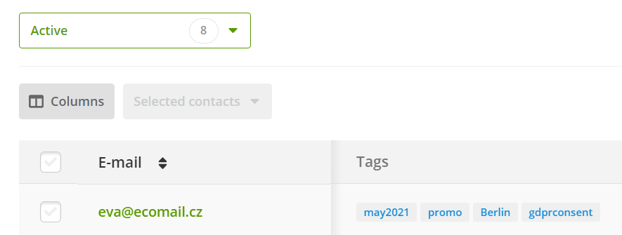 added tag by button