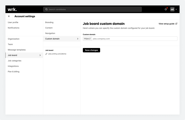 The job board custom domain screen within Wrk with no custom domain defined.
