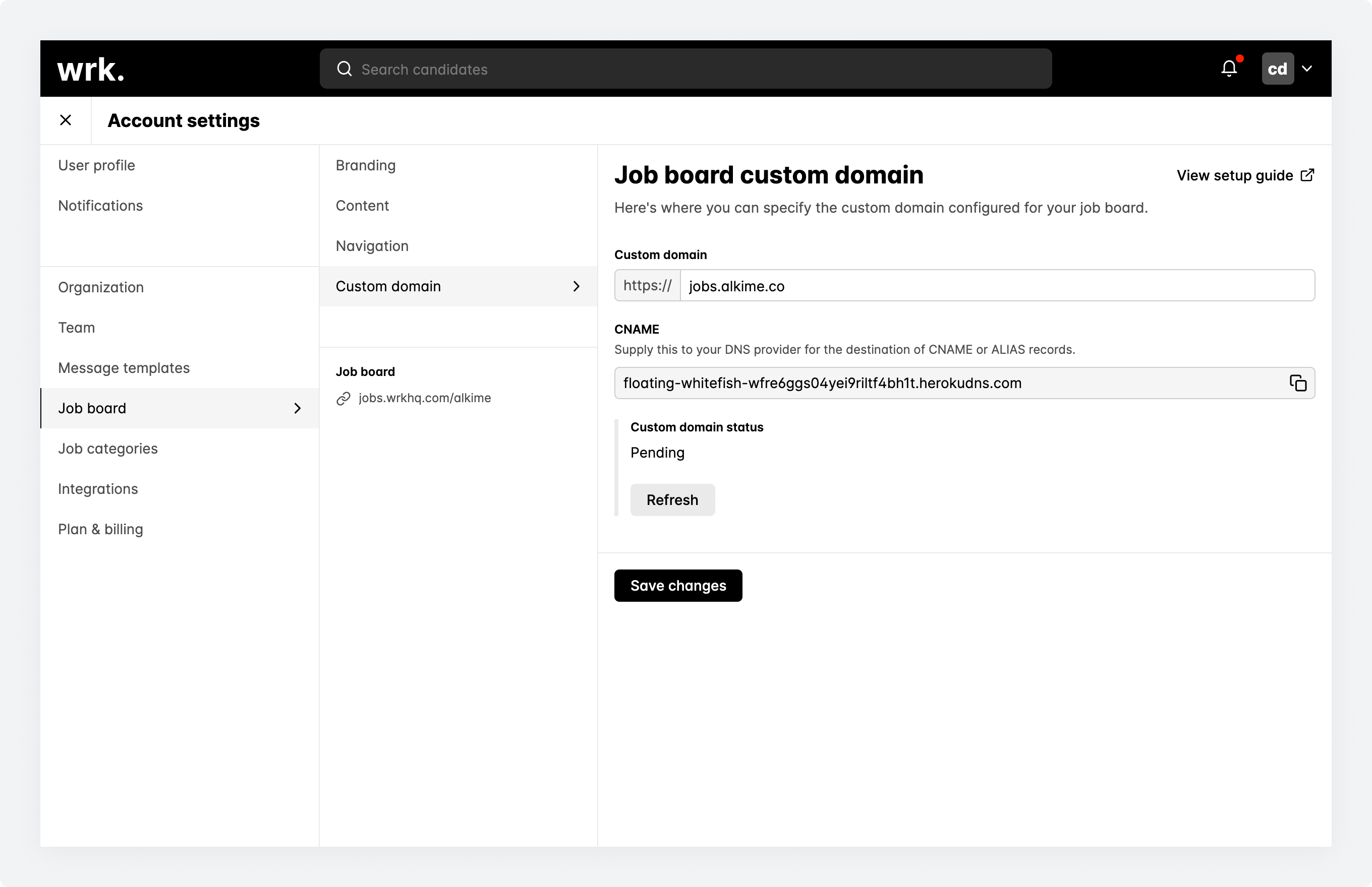 The job board custom domain screen within Wrk with a custom domain define and and pending status being displayed.