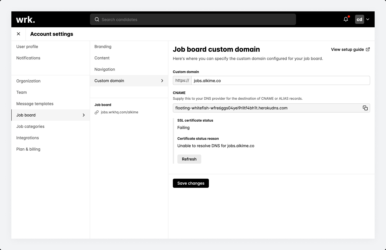 The job board custom domain screen in Wrk showing a custom domain with a failing SSL certificate status.