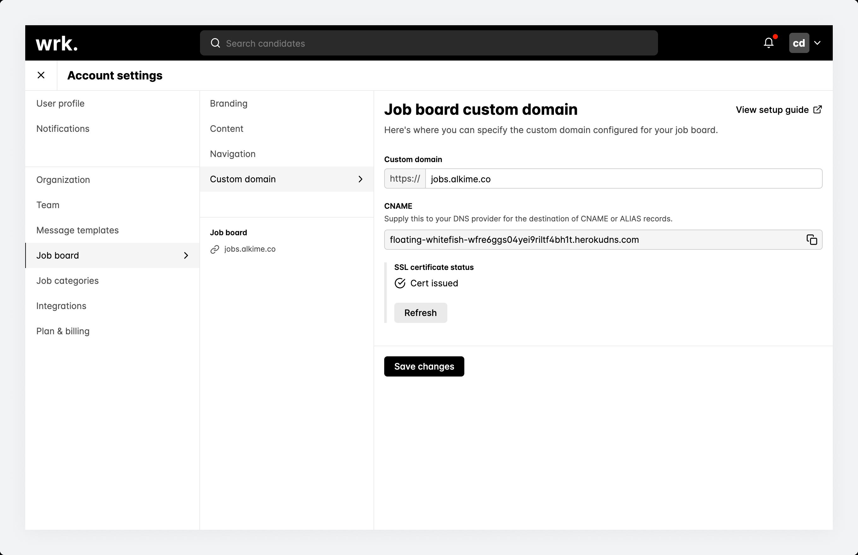 The job board custom domain screen in Wrk with a successful SSL certificate status.