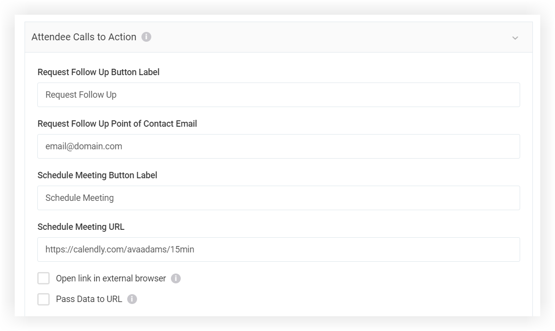 Screenshot of the Attendee Calls to Action section of the modal.