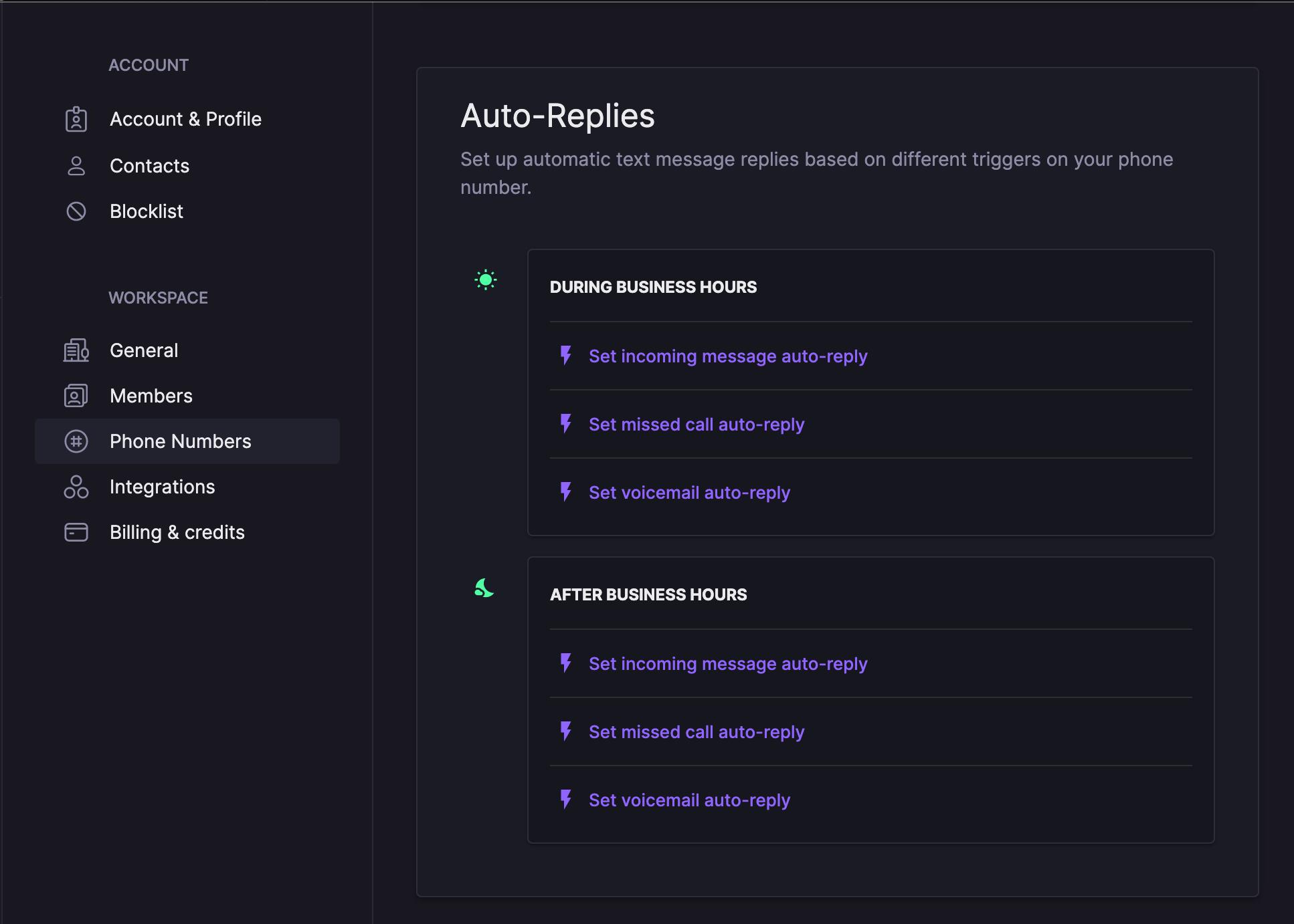 The auto-replies menu in OpenPhone