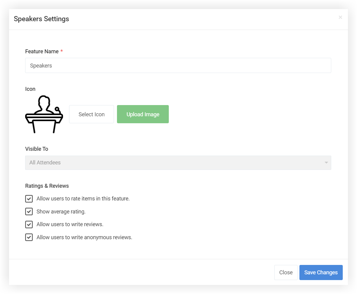 Screenshot of the Speakers Settings modal.